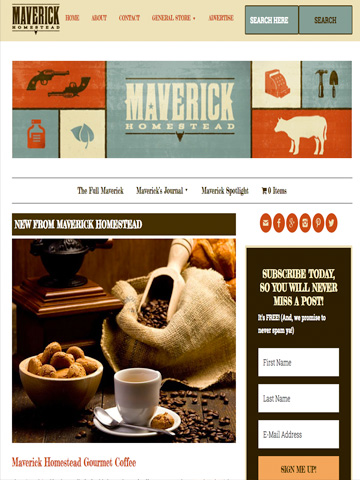 Personal blog and online store for Maverick Homestead